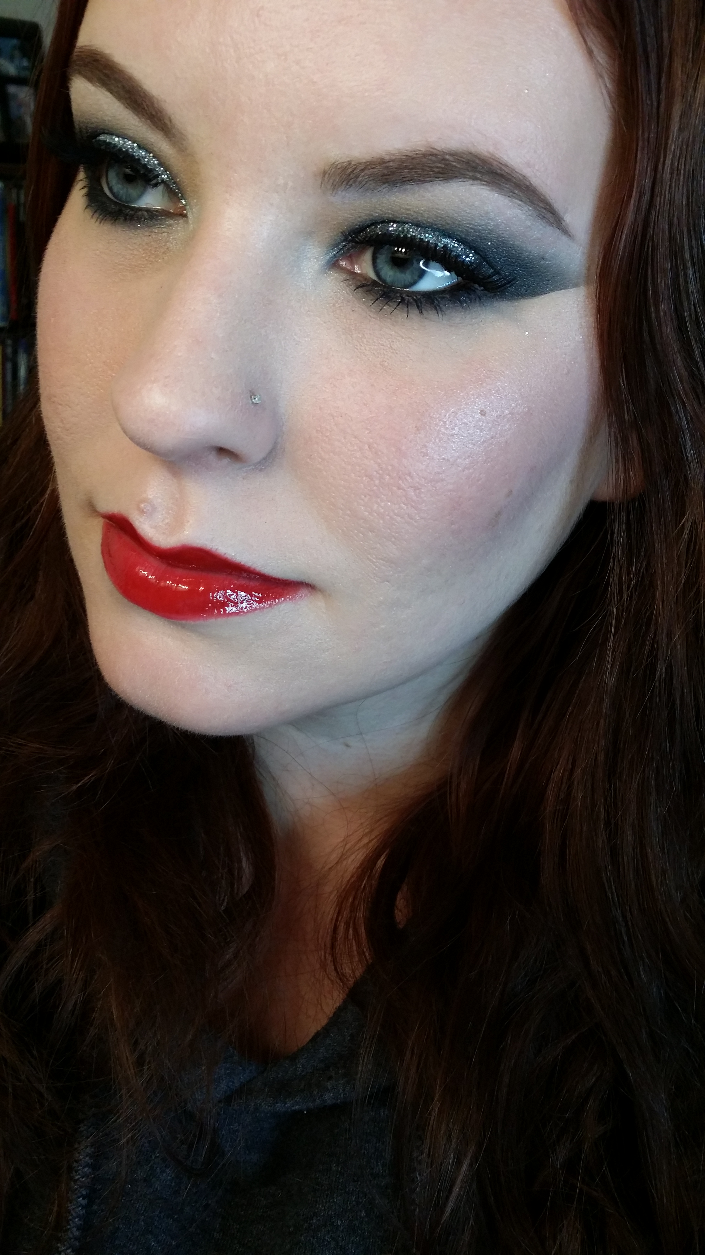 Drugstore Holiday Makeup: Silver Glitter And Red Lips